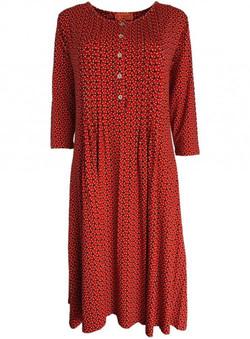 Rød kjole m. læg kr.879,-