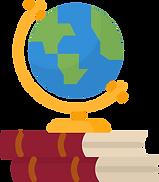 Globe on books illustration