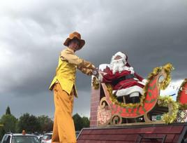 Golden Man Meets Santa