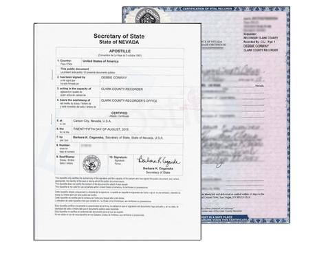 Nevada Apostille Certificate