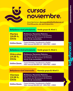 Cursos de Bellydance Noviembre 2020 @macarenapalermo
