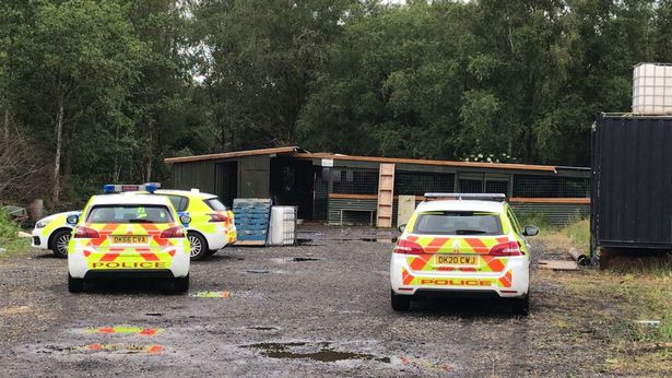 Police at the scene after a rave in Rainford