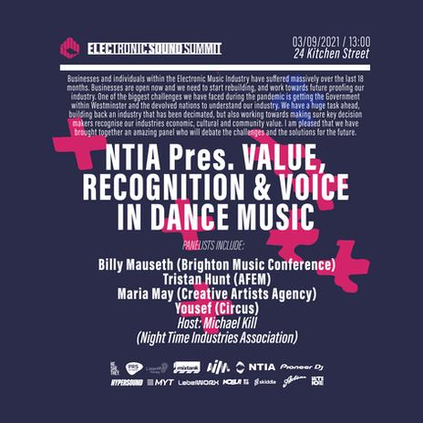 NTIA Pres.  Value, Recognition & Voice in Dance Music