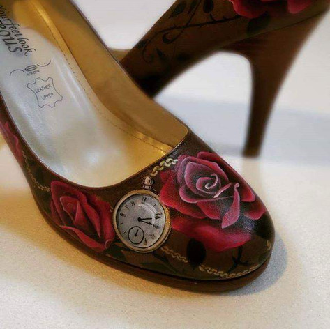 Hand painted rose heels