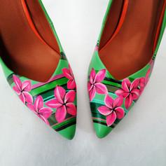 hand painted green heels