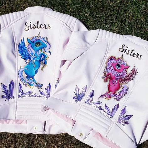 Girls Hnad painted Unicorn jackets