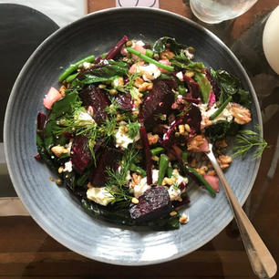 Roasted beets, wilted greens, goats feta.