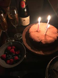 Flourless chocolate and almond cake.