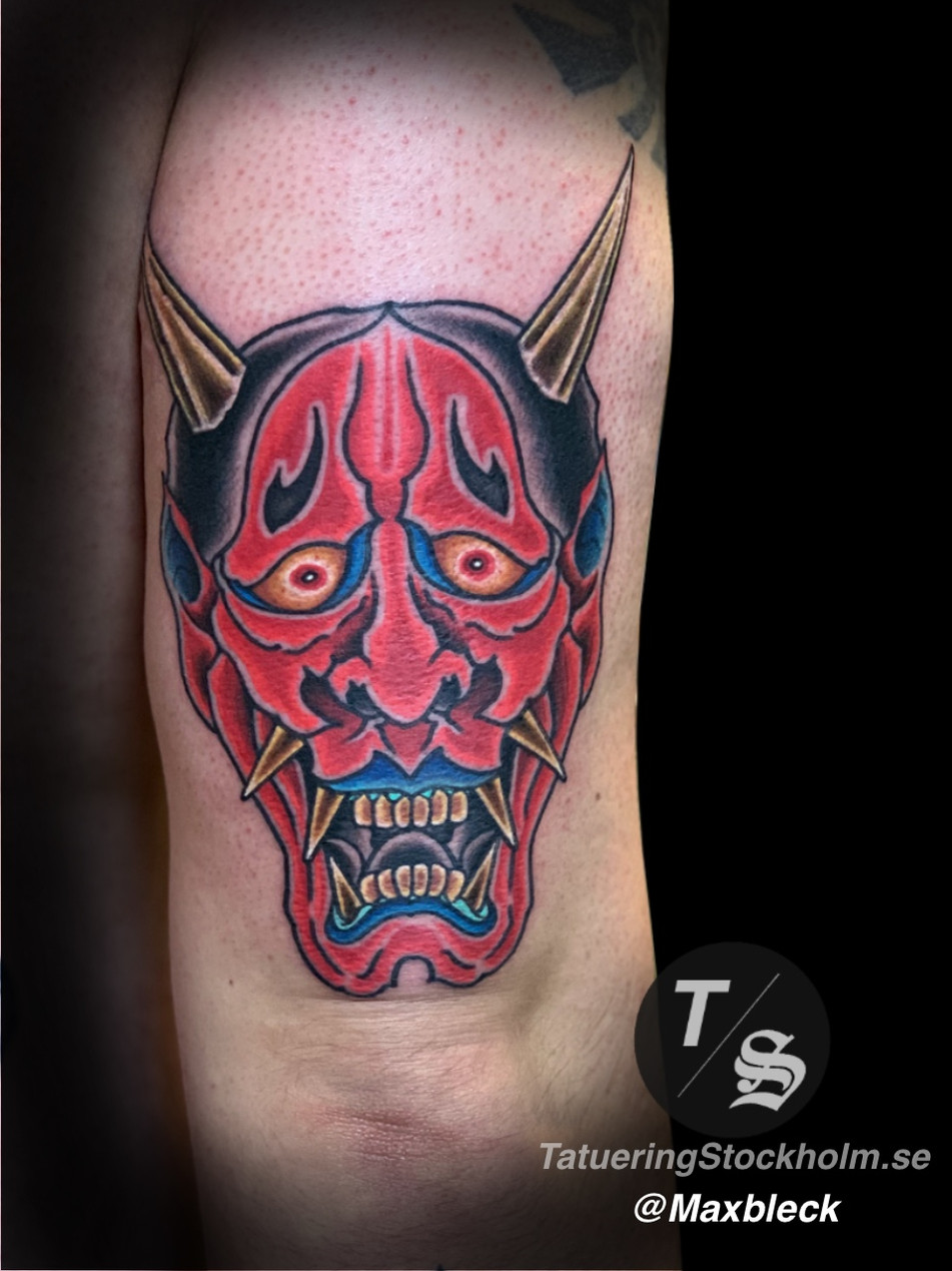 Japanese mask tattoo