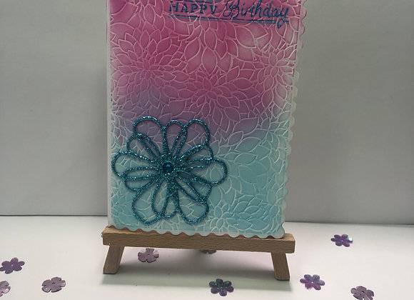 Pink and Blue Blend Embossed Background Birthday Card