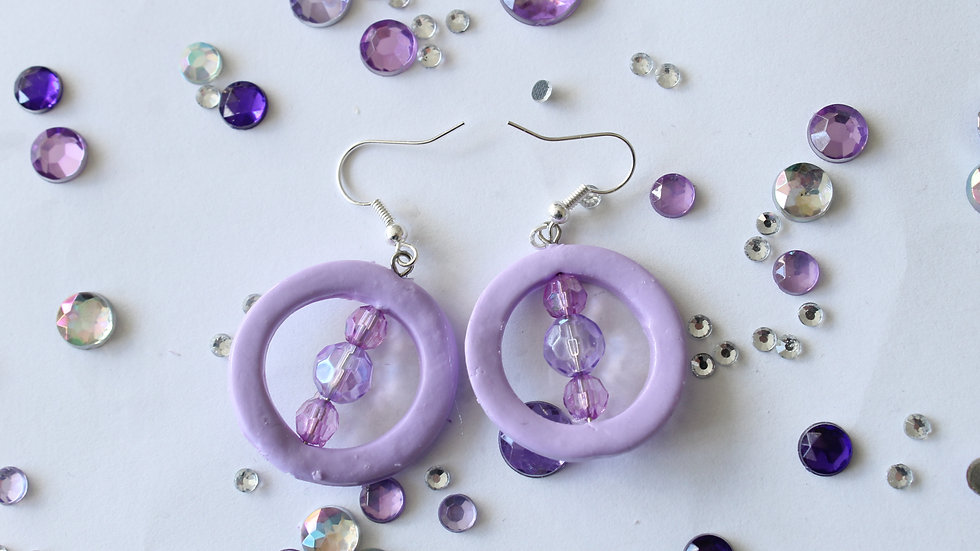 Lilac Cut-out Circles with Beads Polymer Clay Earrings