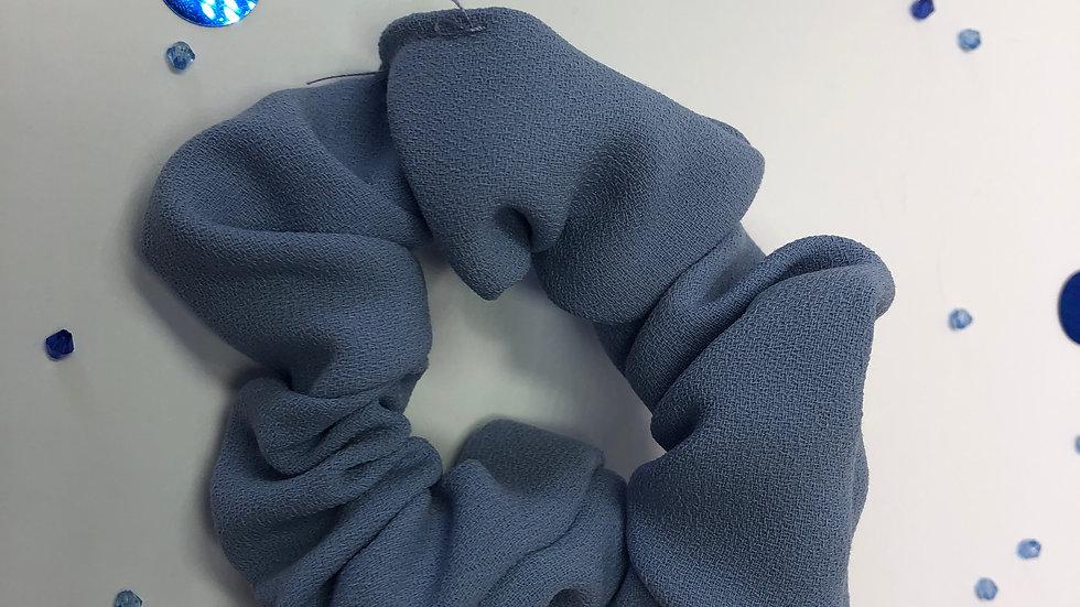 Blue Wool Crepe Scrunchy