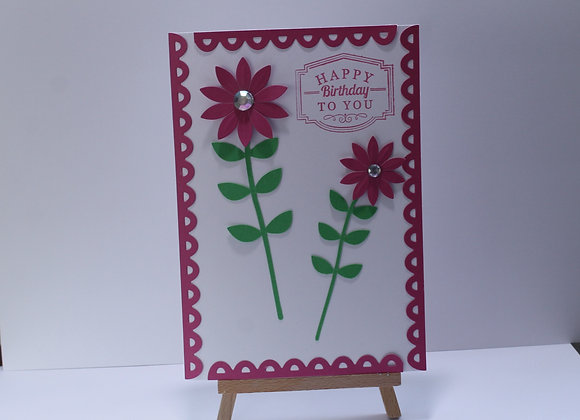 Pink and White Flower Birthday Card