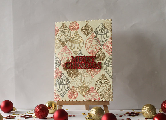 Stamped and Heat Embossed Bauble Background