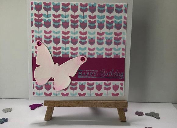 Floral Print Birthday Card