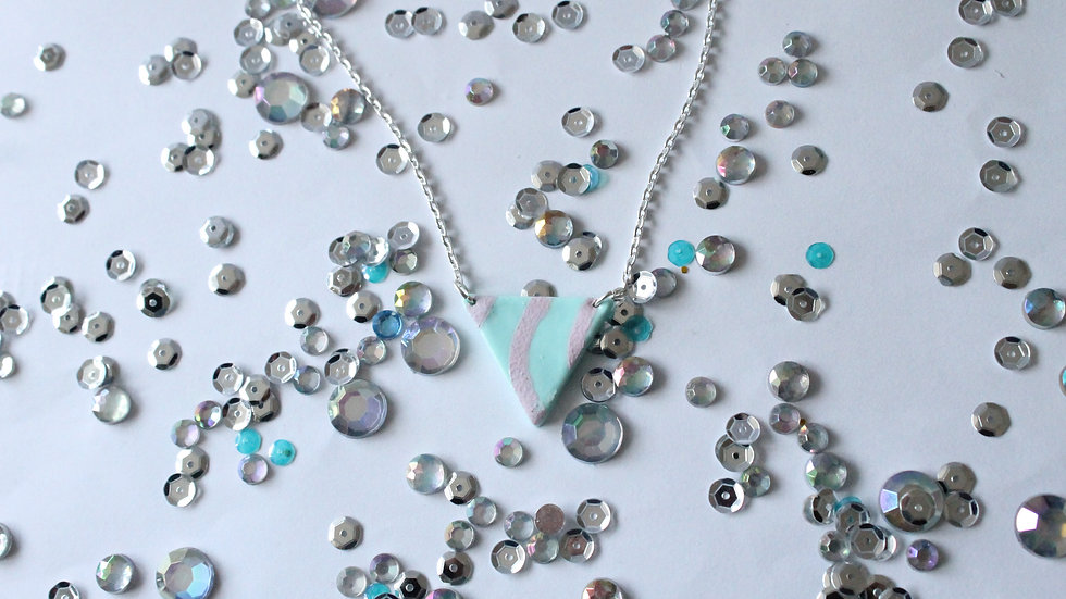 Triangle Teal Necklace with Pink Wavy Line Print
