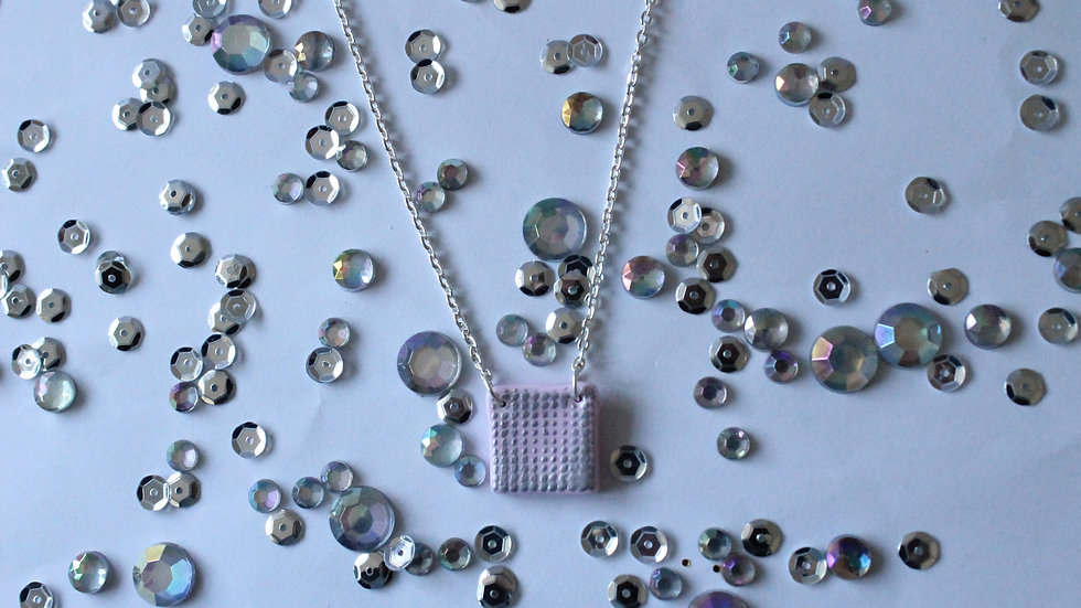 Silver Embossed Spotted Printed Pink Square Necklace