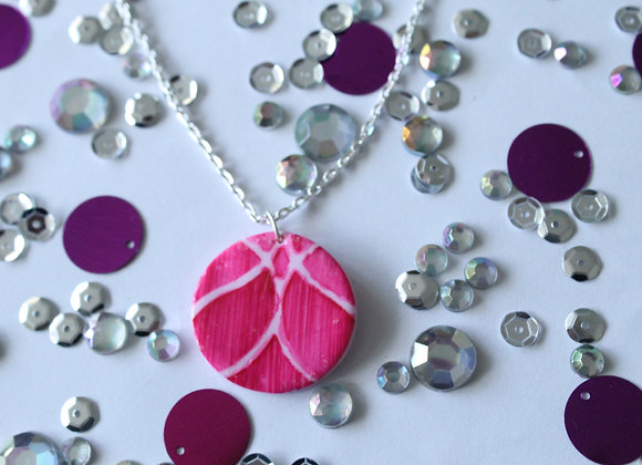Pink Round  Necklace with Pink Print