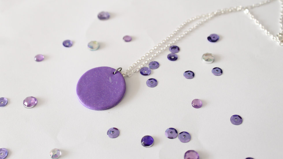 Round Purple with Sparkles Polymer Clay Pendent Necklace
