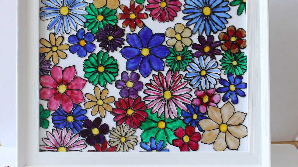 Floral Pattern Glass Art