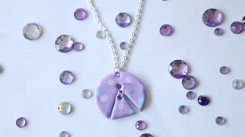 Pink and Blue Spot Triangle Cut out Necklace