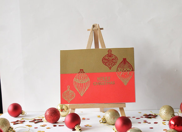 Half and Half Heat embossed Christmas Card Gold and Red