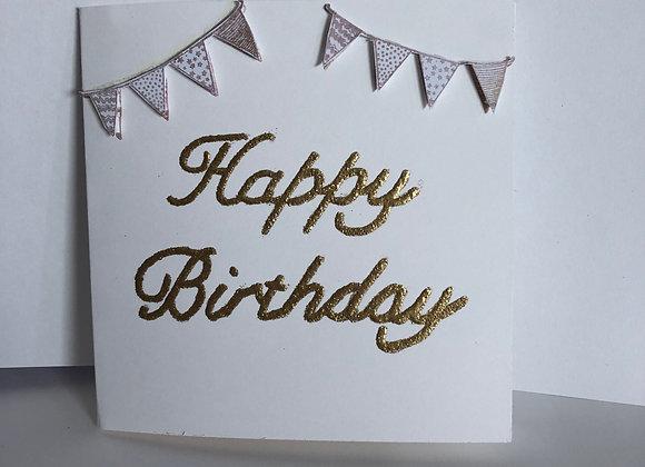 Gold Heat Embossed Birthday Card