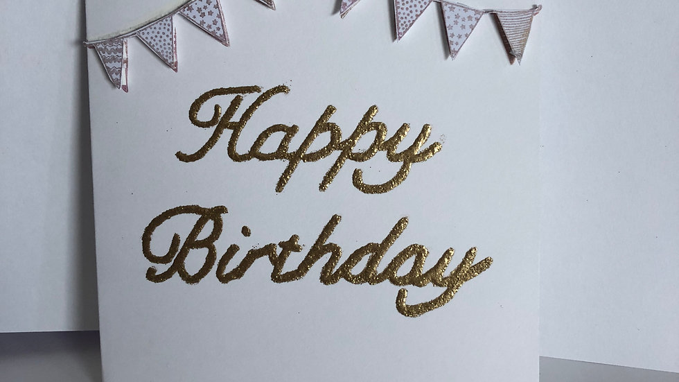 Gold Heat Embossed Birthday Card