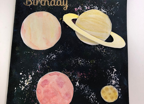 Hand Painted Space Birthday Card