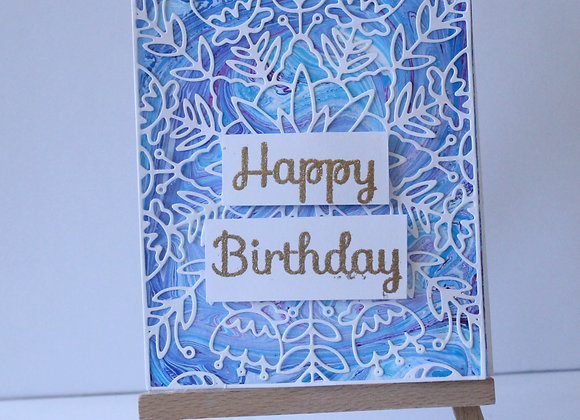 Blue and Pink Marbled Background with Floral Overlay