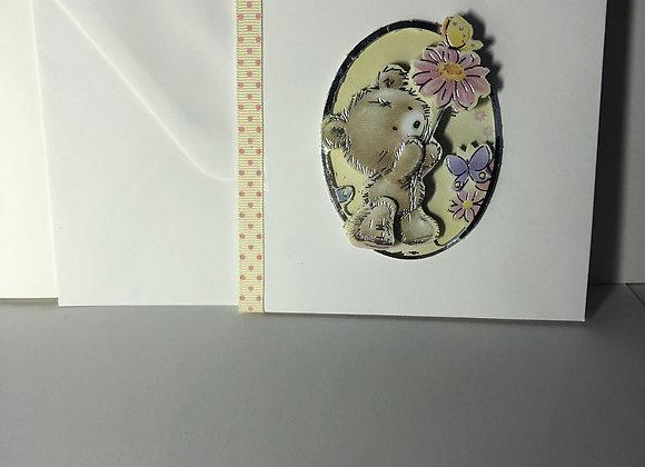 Decoupage Floral Bear Card