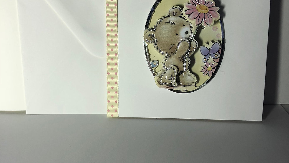 Decoupage Floral Bear Card