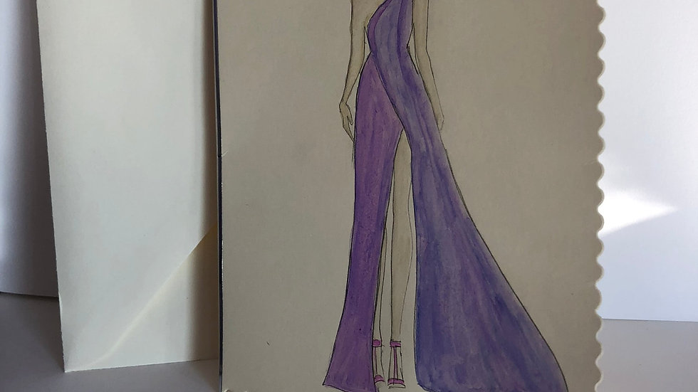 Fashion Illustration Birthday Card: Hand Drawn and Painted