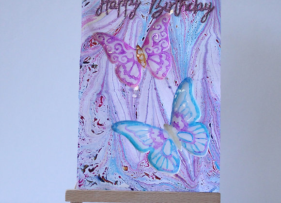 Embedded Acetate Butterfly with Marbled Background