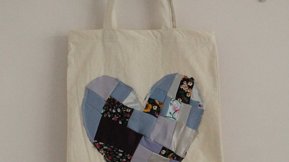 Patchwork Heart Appliqué Tote Bag