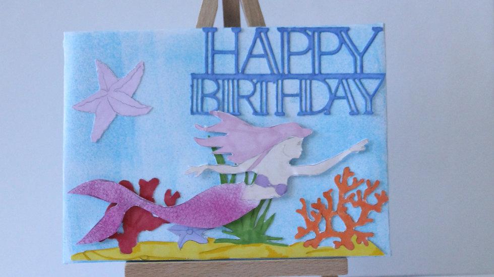 Sparkle Mermaid Origami Birthday Card