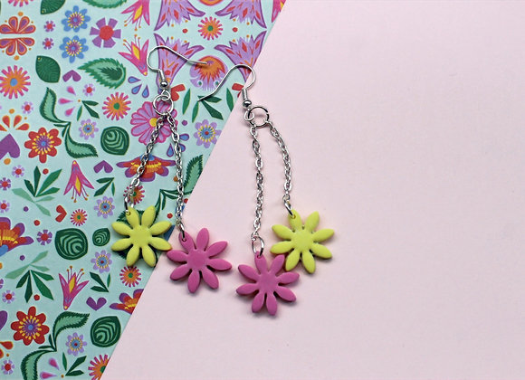 Playful Pink and Bold Yellow Daisy Flower Earrings