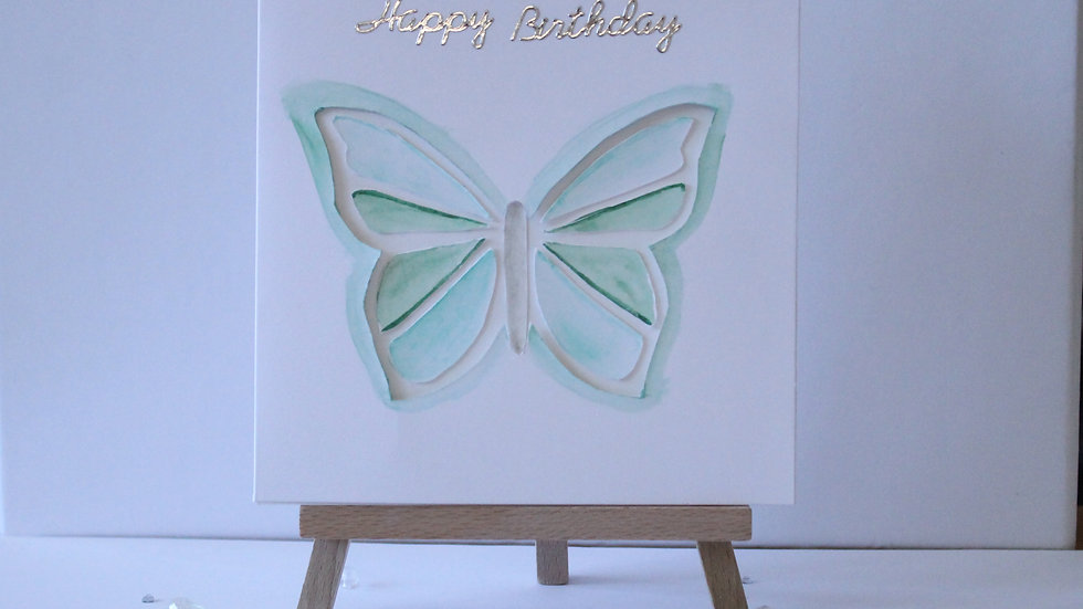 Butterfly Collection: Tri Folded Card Green Cut-out Butterfly, hand painted