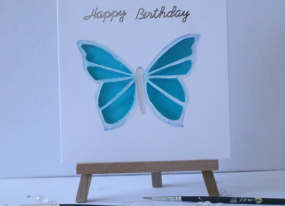 Butterfly Collection: Blue Butterfly with stain glass effect wings hand painted