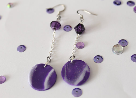 Marbled Sparkly Polymer Clay Circle and Bead Earring