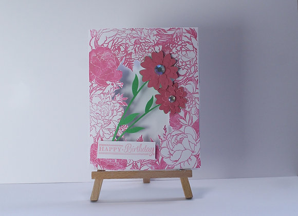 Floral Print Cut Out Birthday Card