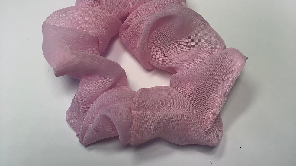 Baby Pink Chiffon Scrunchy