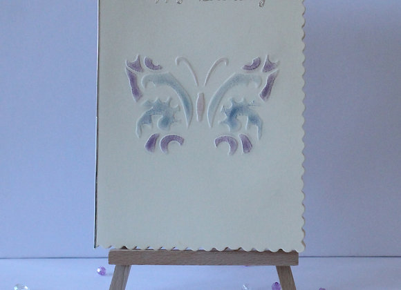 Hand Embossed Butterfly Birthday Card Coloured with Eyeshadow