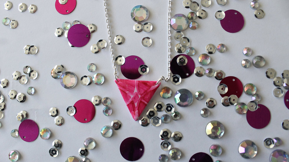 Pink Triangle Necklace with Pink Print