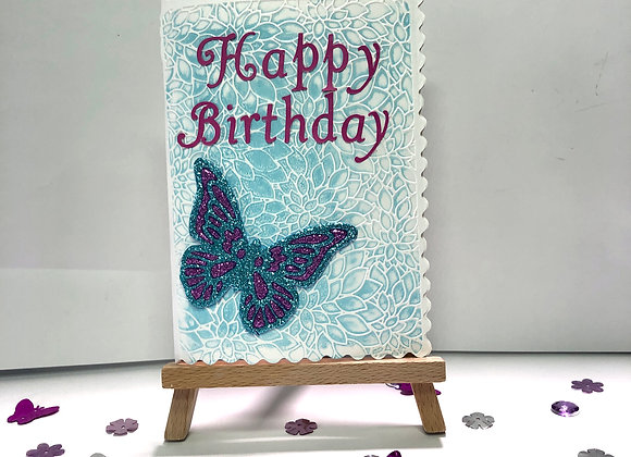 Embossed Background and Sparkly Butterfly