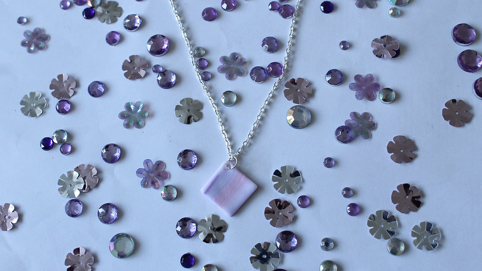 Pink and Purple Marbled Diamond Drop Necklace with Glitter