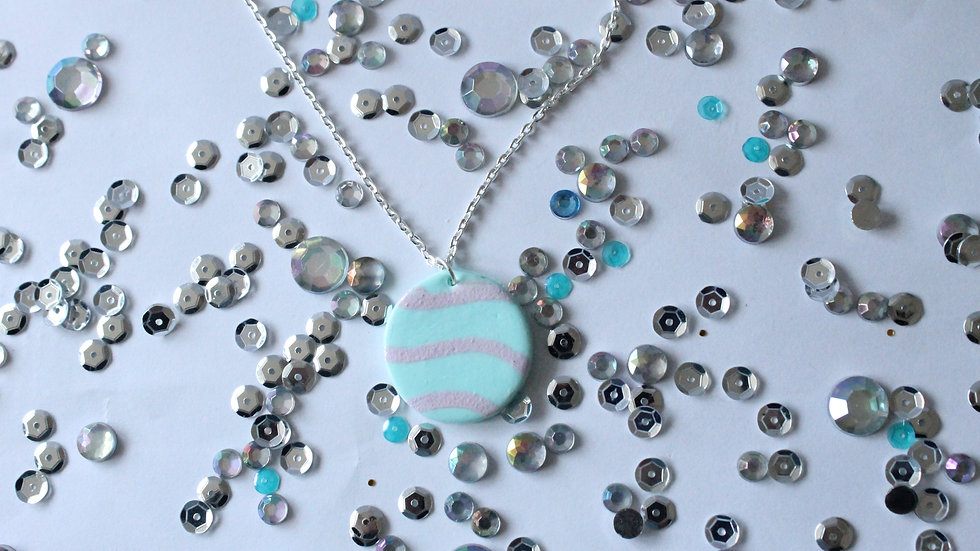 Teal Necklace with Pink Wavy Line Print