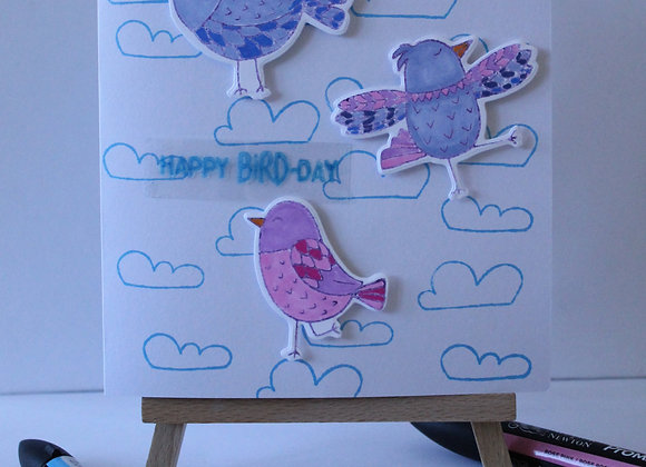 """Happy Bird-Day"" Cloud Print Birthday Card"