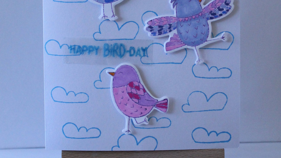 """Happy Bird-Day"" Cloud Print Birthday Card"