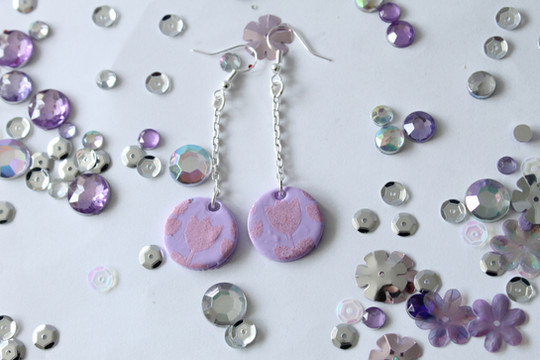 Floral print polymer clay earrings